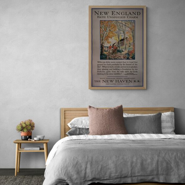 New_England_Comfy_bedroom_with_wooden_bed_and_side_table